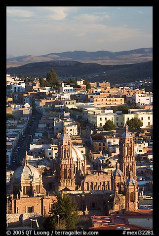 Cathedral and town, late afternoon. Zacatecas, Mexico (color)