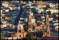 Cathedral and roofs seen from above, late afternoon. Zacatecas, Mexico