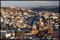 Panoramic view of Cathedral and town, late afternoon. Zacatecas, Mexico ( color)