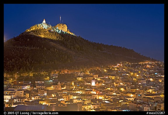 Cerro de la Bufa and town at night. Zacatecas, Mexico (color)