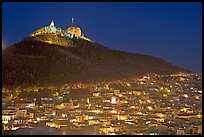 Cerro de la Bufa and town at night. Zacatecas, Mexico ( color)