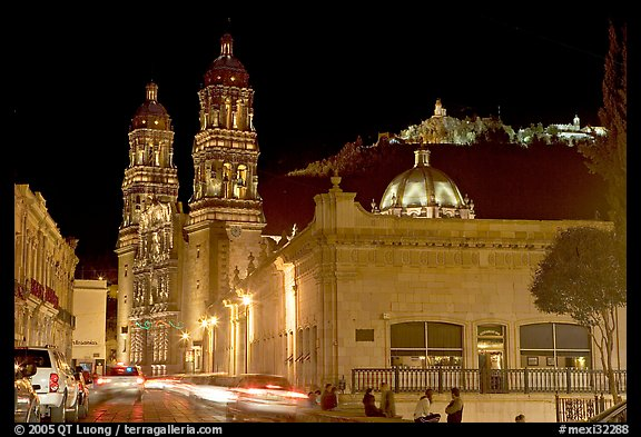 Gonzalez Ortega Market, Cerro de la Bufa, and Cathedral at night. Zacatecas, Mexico (color)