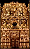 Illuminated churrigueresque carvings on the facade of the Cathdedral. Zacatecas, Mexico (color)