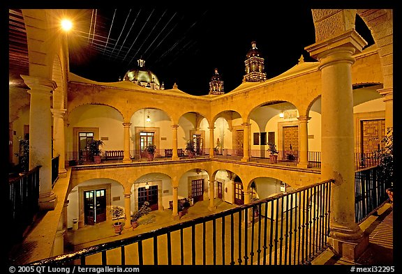 Inside courtyard of the Palacio de Gobernio. Zacatecas, Mexico (color)