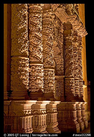Churrigueresque columns on the facade of the Cathdedral. Zacatecas, Mexico
