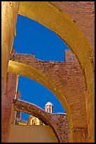 Buttresses of former St Augustine church at night. Zacatecas, Mexico (color)