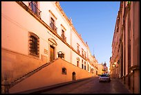 Car in street at dawn with Zacatecas Museum. Zacatecas, Mexico ( color)