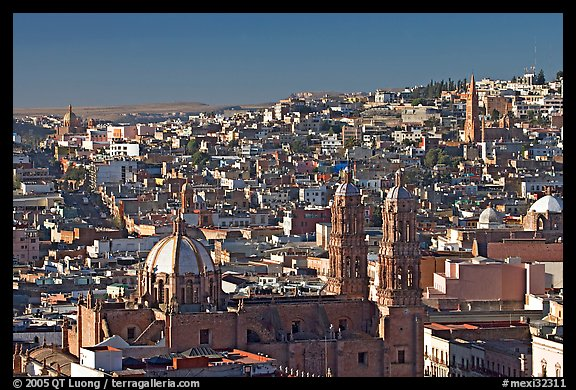 Panoramic view of Cathedral and town, morning. Zacatecas, Mexico