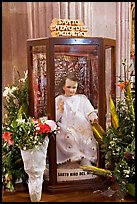 Figure of Santo Nino Del Milagro with offered flowers. Zacatecas, Mexico