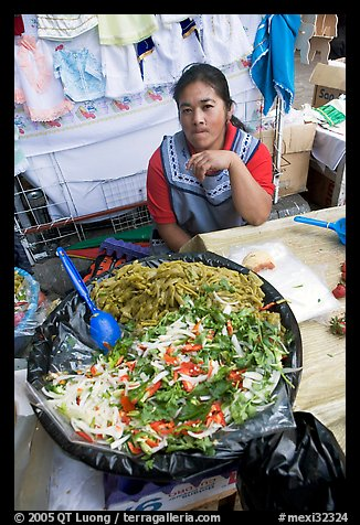 Woman and plater with typical vegetables. Guanajuato, Mexico