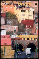 Houses on a hillside built above a tunnel. Guanajuato, Mexico (color)