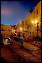 Juarez street and subterranean street with bus at night. Guanajuato, Mexico