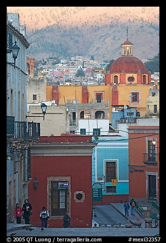 Templo de San Roque, streets, and hillside, early morning. Guanajuato, Mexico (color)