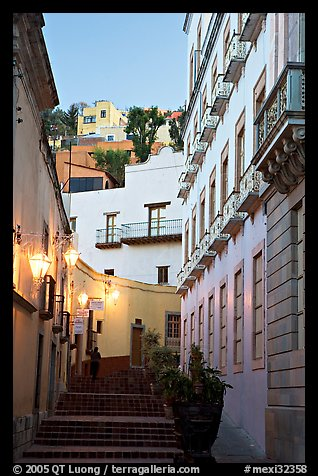 Street with steps at dawn. Guanajuato, Mexico