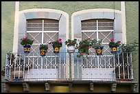Balcony with potted flowers. Guanajuato, Mexico (color)