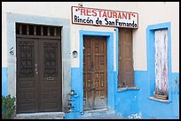 Closed doors of restaurant  Plazuela San Fernando. Guanajuato, Mexico ( color)