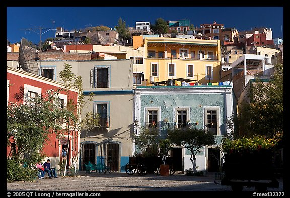 Houses on hill above  Plazuela San Fernando. Guanajuato, Mexico (color)
