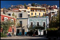 Houses on hill above  Plazuela San Fernando. Guanajuato, Mexico ( color)