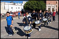 Schoolchildren in a marching band. Guanajuato, Mexico
