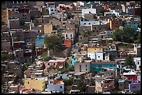 Brligly painted houses on hillside. Guanajuato, Mexico
