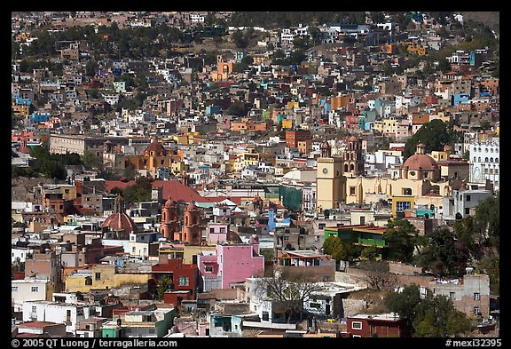 View of the city center from Pipila, mid-day. Guanajuato, Mexico (color)