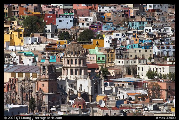 City center from above  with dome of Templo de la Compania de Jesus. Guanajuato, Mexico (color)