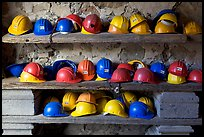 Hard hats used for descending into La Valenciana mine. Guanajuato, Mexico (color)