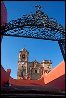 Forged metal gate and La Valenciana church. Guanajuato, Mexico ( color)