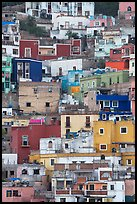 Vividly colored houses on steep hill. Guanajuato, Mexico