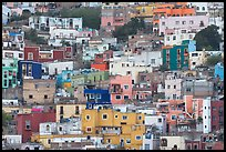 Steep hill with multicolored houses. Guanajuato, Mexico