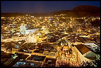 Historic town at night with illuminated monuments. Guanajuato, Mexico (color)