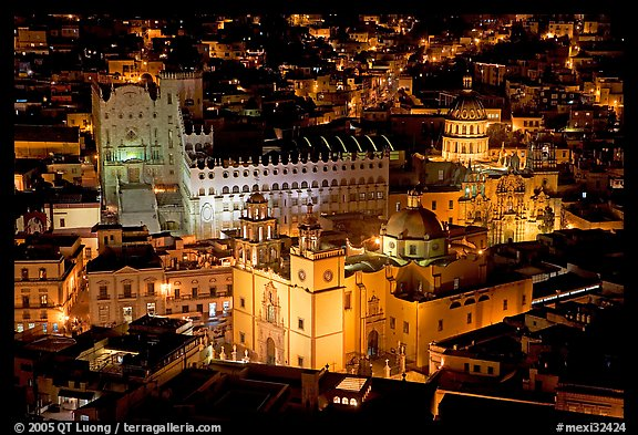 Basilic and University seen from above at night. Guanajuato, Mexico (color)