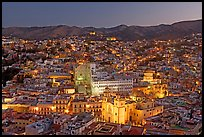 Panoramic view of the historic town with illuminated monuments. Guanajuato, Mexico