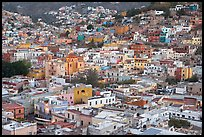 Historic town seen from above at dawn. Guanajuato, Mexico (color)