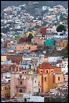 Church San Roque, and houses at dawn. Guanajuato, Mexico