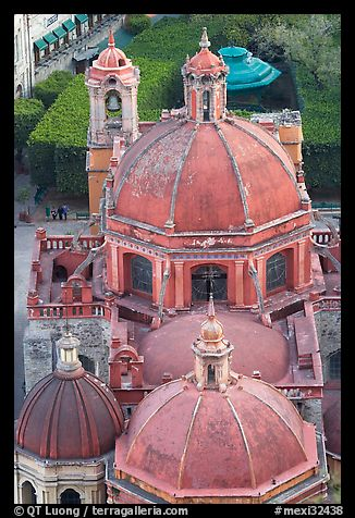 Roofs and domes of Church of San Diego seen from above. Guanajuato, Mexico (color)