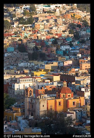 Church San Roque, and houses, early morning. Guanajuato, Mexico (color)