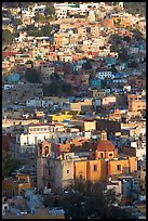 Church San Roque, and houses, early morning. Guanajuato, Mexico