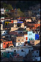 Vividly colored houses on hill, early morning. Guanajuato, Mexico