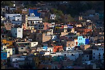 Vividly colored houses on hill, early morning. Guanajuato, Mexico ( color)