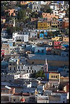 Houses built on steep hill,  early morning. Guanajuato, Mexico