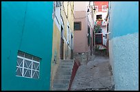 Steep and narrow alleyway. Guanajuato, Mexico