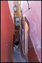 Looking down Callejon del Beso, the narrowest of the alleyways. Guanajuato, Mexico (color)