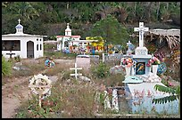 Cemetery with tombs of all shapes and sizes. Mexico (color)