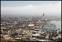 View of downtown and harbor from above, Ensenada. Baja California, Mexico (color)