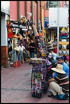 Souvenirs stands on sidewalk, Ensenada. Baja California, Mexico (color)