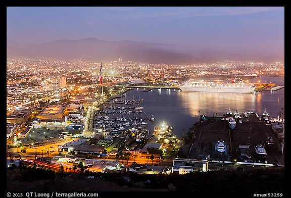Harbor at night from above, Ensenada. Baja California, Mexico (color)