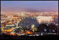 Harbor at night from above, Ensenada. Baja California, Mexico ( color)