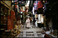 Narrow alley lined with shops. Jerusalem, Israel ( color)