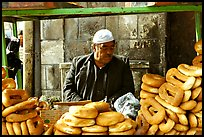 Arab bread vendor. Jerusalem, Israel (color)